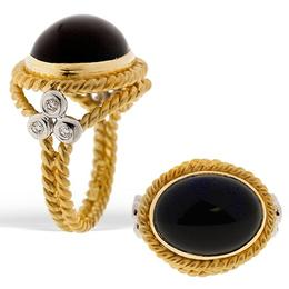Maza Black Onyx and Diamond Ring