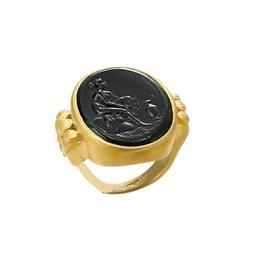 18KT. YELLOW GOLD OVAL BLACK MURANO GLASS RING