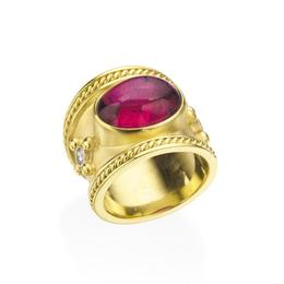 18KT.YELLOW GOLD CIGAR BAND WITH PINK TOURMALINE, 9.13