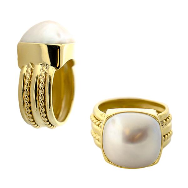 18KT. YELLOW GOLD BEZEL SET MOBE PEARL RING