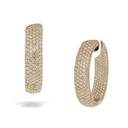 18k White Gold Large Flat Oval Pave' Diamond Hoop Earring (9.96cts.)
