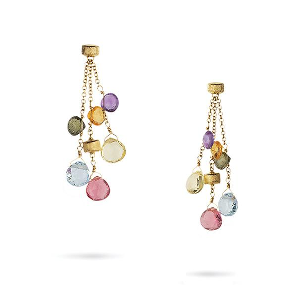18KYG 3 STRAND PARADISE EARRINGS BY MARCO BICEGO EACH WITH  MULTI COLORED BRIOLETTES