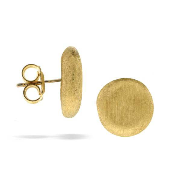 18KYG 15MM HAND ENGRAVED BUTTON EARRINGS FROM JAIPUR COLLECTION BY MARCO BICEGO
