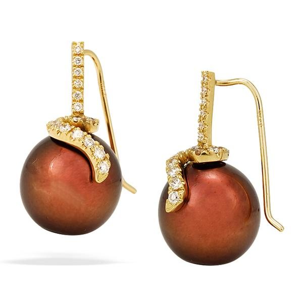 Yvel 13mm Chocolate Pearl Earrings