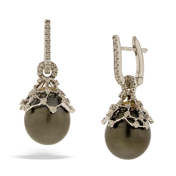 Di Go Black Pearl Drop Earrings with Diamonds