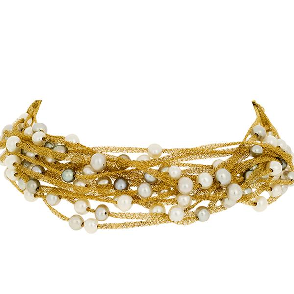 Calgaro 18k Yellow Gold and Grey Pearl Bracelet