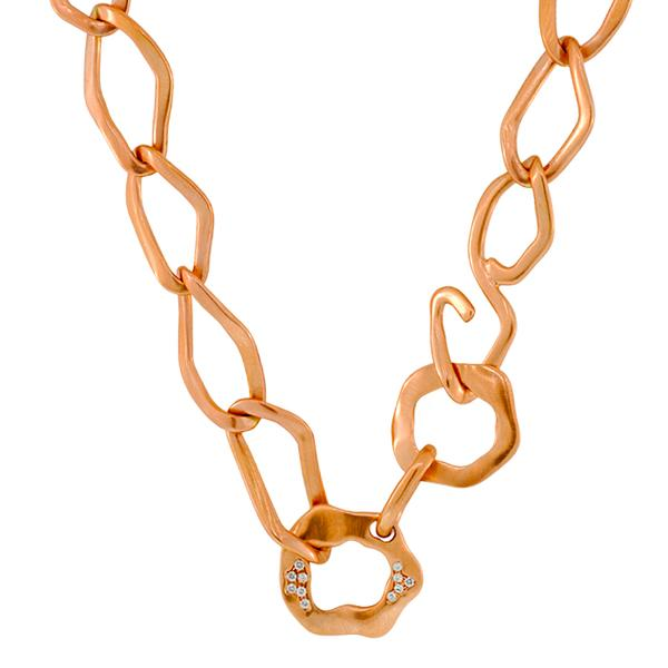 Antonini 'Oval Rolo', 18KP link necklace with Diamonds.