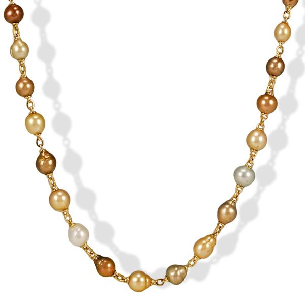 Yvel 18k Yellow Gold and South Sea Pearl Mix Necklace