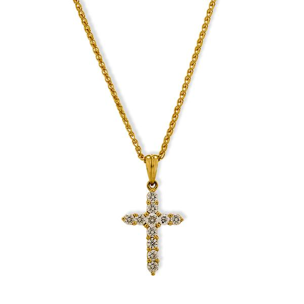 18k Yellow Gold Cross w/ White Diamonds