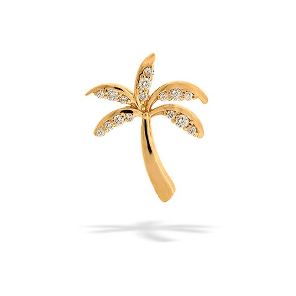 Palmtree Pendant 14k Yellow Gold with Diamonds