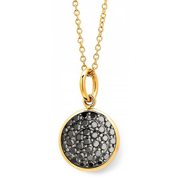 10MM PAVE' BLACK DIAMOND  PENDANT. 18KT.YG. BAIL