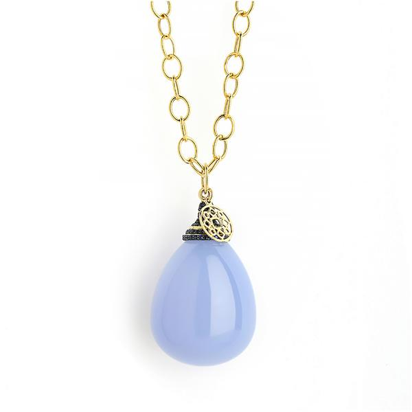 100CT. BLUE CHALCEDONY WITH BLUE SAPPHIRE ON CAP BAIL