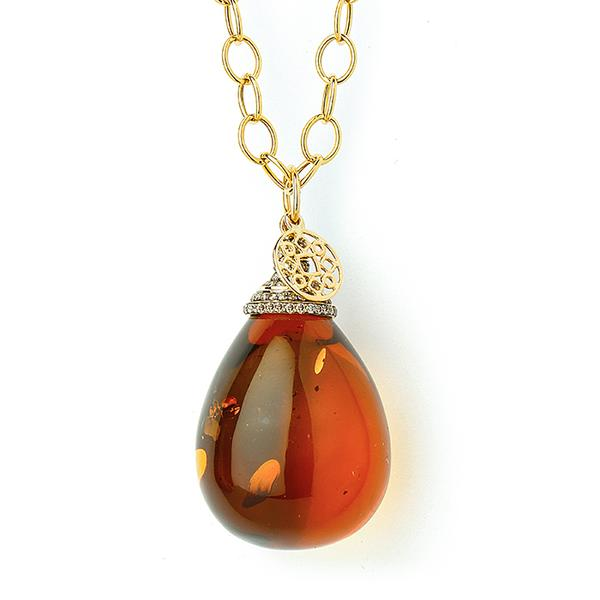 18KT. LARGE NATURAL AMBER DROP PENDANT