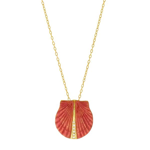 18KT. YG ROSE ENAMEL SCALLOP ENHANCER