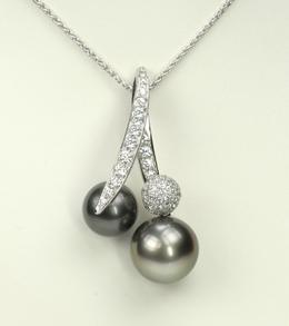 Io So Scavia Black Tahitian Pearl Pendant w/ Diamonds