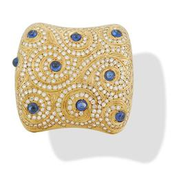 Lombardi 18k Pin with Sapphires and Diamonds