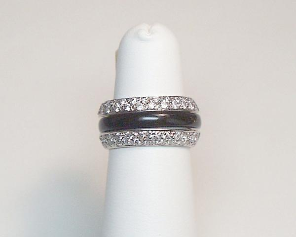 Beveled Band with Pave