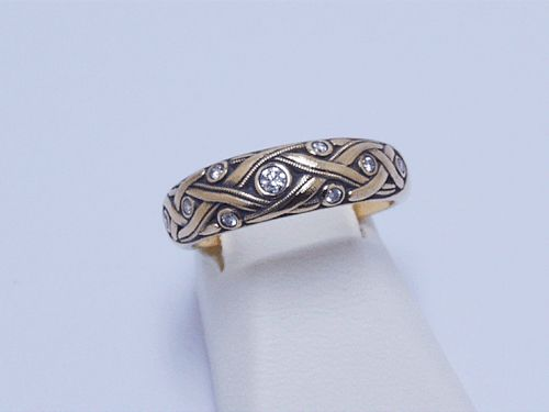 Alex Sepkus 18k Yellow Gold Vine Ring 9 Diamonds (.14ct)