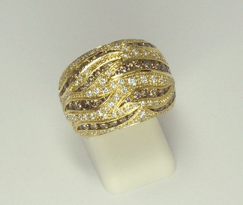 White and Brown Diamond Ring in 18k Yellow Gold