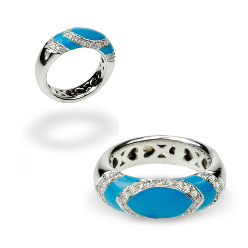 Diamond and Turquoise Enamel Ring