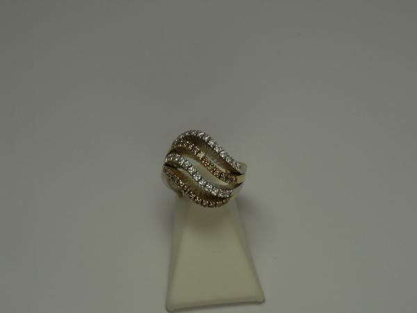 White and Brown Diamond Ring w/ Two-Toned Gold