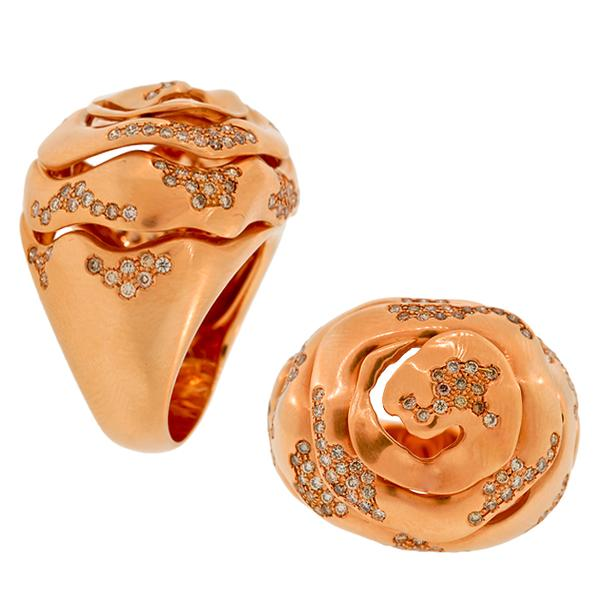 'Istanbul', 18 KP sprial ring with Diamonds by Antonini.