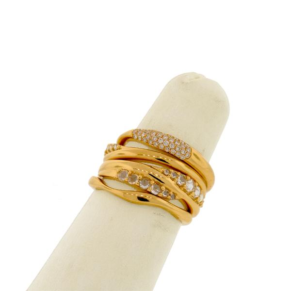18K YELLOW GOLD MINE AND BRILLIANT CUT DIAMOND , ON 4 WAVY STYLE STACKING BANDS
