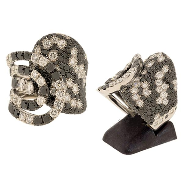 18K CRIVELLI BLACK & WHITE DIAMOND RING