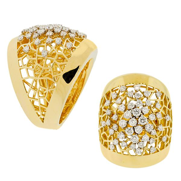 18KT.YELLOW GOLD DOME LACEWORK RING