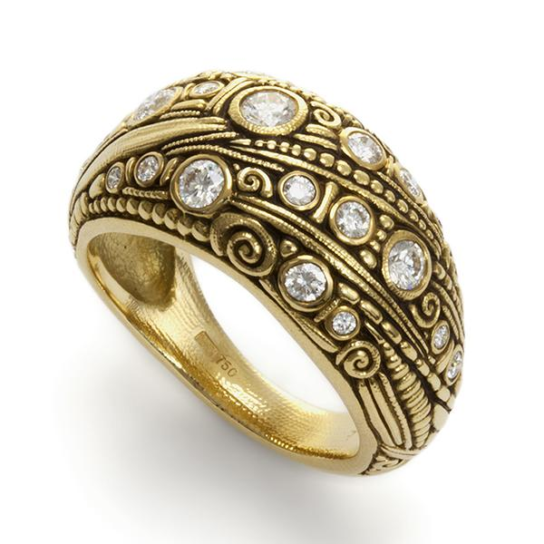 18K CARVED DOMED BANDS WITH .052 CTS T.W DIAMONDS
