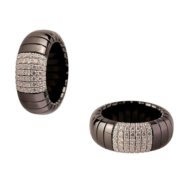 BLACK CERAMIC RING WITH 18KT. WHITE DIAMONDS AND WHITE GOLD