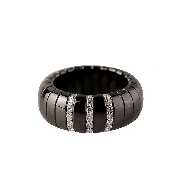 BLACK CERAMIC RING WITH WHITE DIAMONDS IN WHITE GOLD