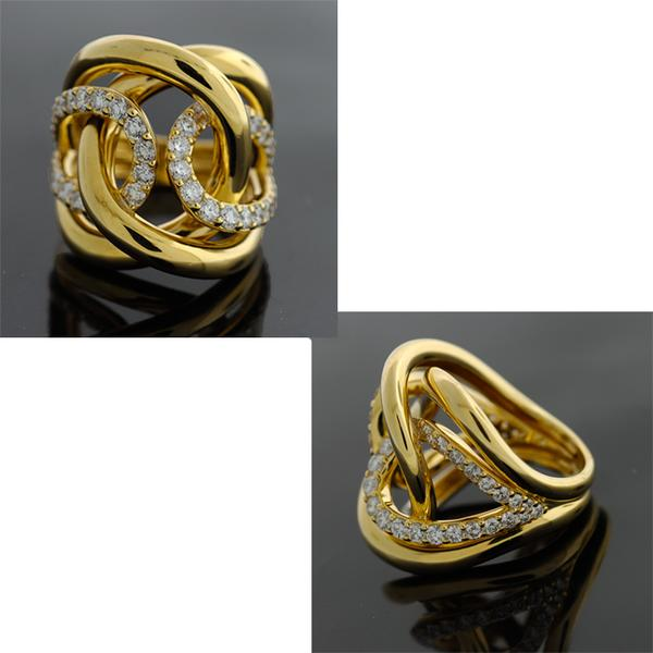 18KT. YELLOW WOVEN TEARDROP SHAPE