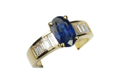 Blue Sapphire Ring with Baguette Diamonds