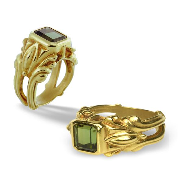Green Tourmaline and 18k Ring