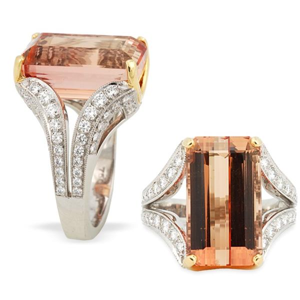 Peach Imperial Topaz and Diamond Ring