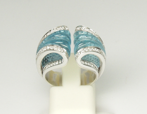 Io Si Scavia Hand-Carved Blue Topaz Ring