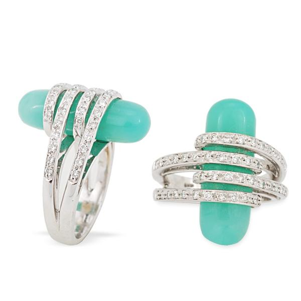 Chrysoprase Bullet and Diamond Ring