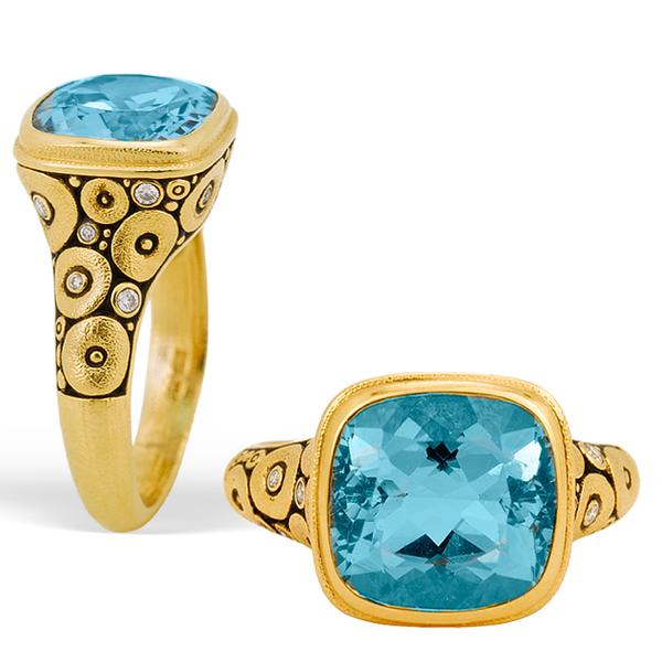 Alex Sepkus 18k Orchard Ring, WITH A AQUAMARINE CENTER