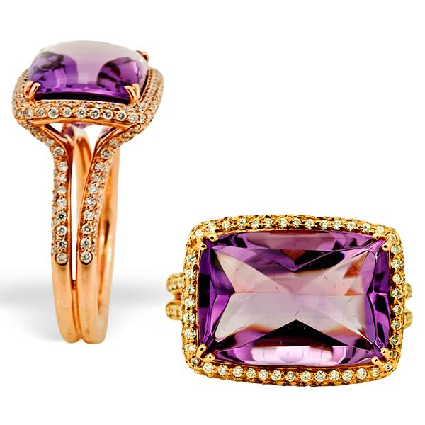 Crivelli 18k Pink Gold, Amethyst, and Diamond Ring