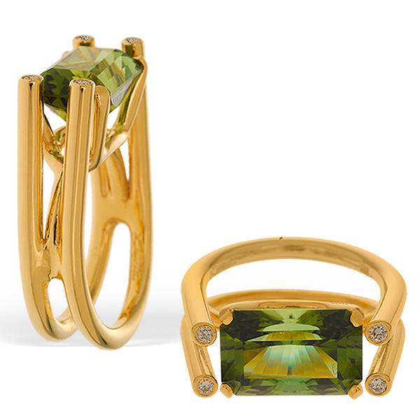 Nigerian Green Tourmaline and Diamond Ring
