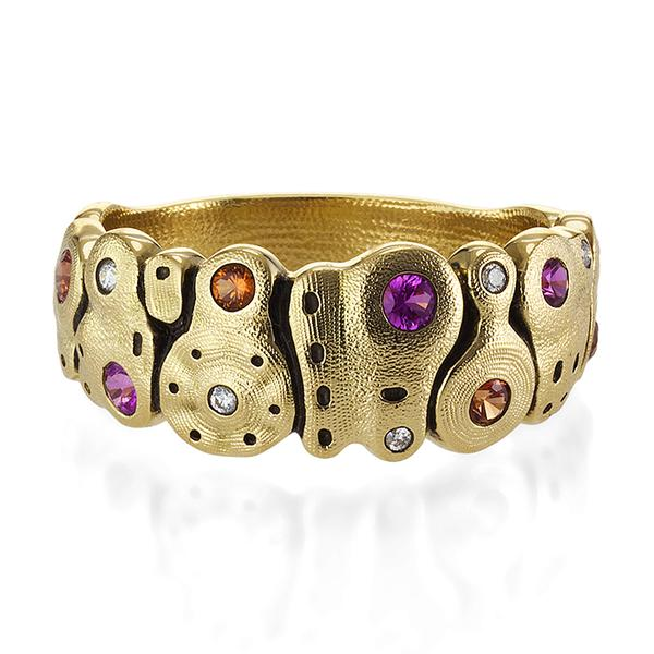 18KT YELLOW GOLD BLUE AND PURPLE SAPPHIRE RING BY ALEX SEPKUS
