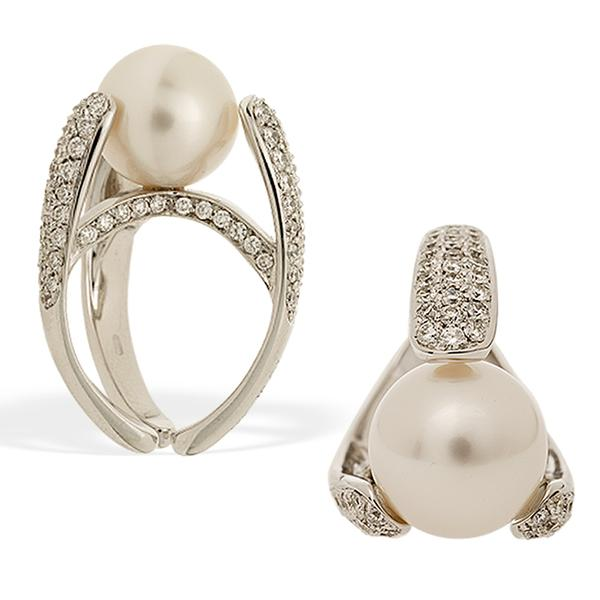 Io Si Scavia South Sea Pearl and Diamond Ring