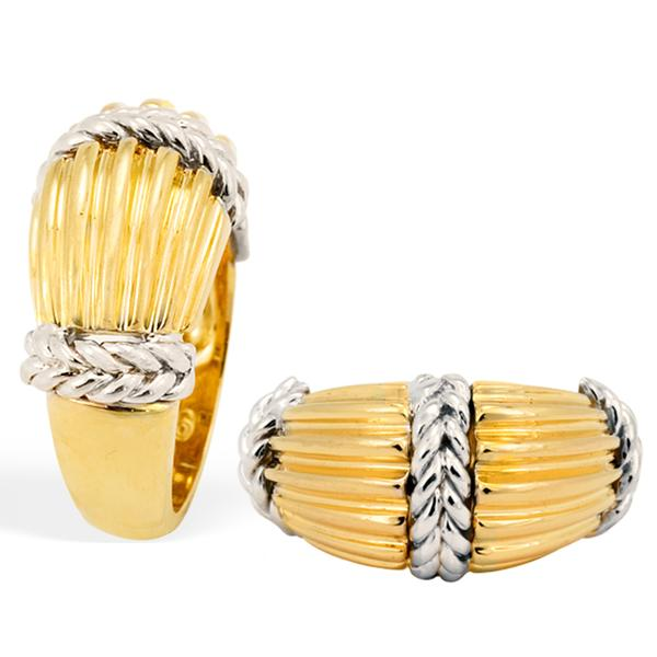 18k Two-Toned Rib and Braid Ring