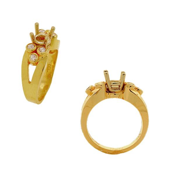 14k Yellow Gold and Diamond Mounting