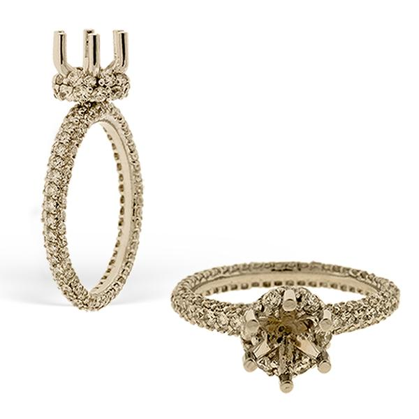 Di Go Engagment Ring with Pave Set Diamonds