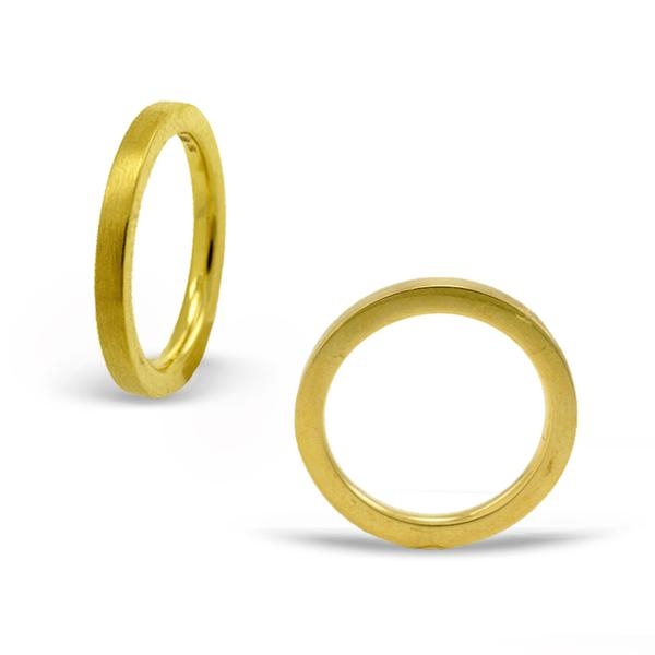 Satin 2mm 18k Yellow Gold Band