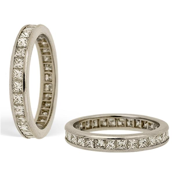 Platinum Eternity Band with Princess Cut Diamonds