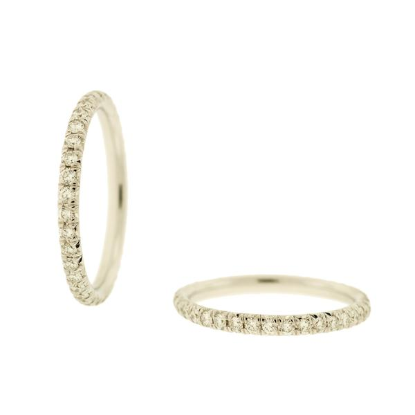 LADY'S 18K WHITE GOLD AND DIAMOND ETERNITY BAND HAVING 38 ROUND DIAMONDS WEIGHING 0.58CTS.