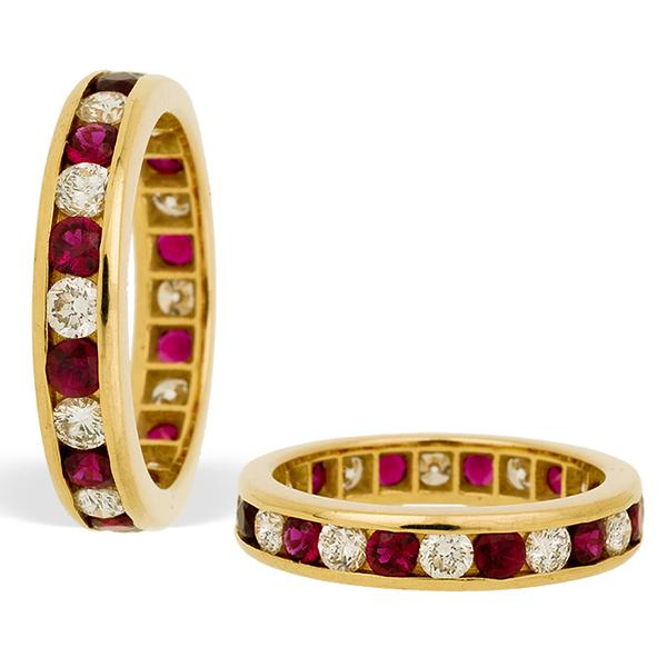 18k Yellow Gold Eternity Band with Rubies and Diamond
